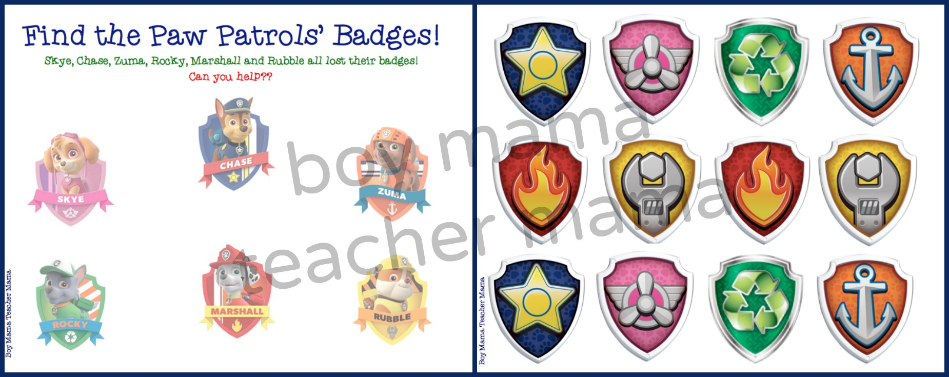 Boy Mama Teacher FREE Paw Patrol Find The Badge Game