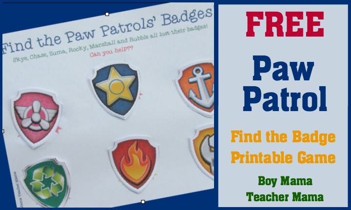 Boy Mama Teacher Mama  FREE Paw Patrol Find the Badge Printable Game (featured)