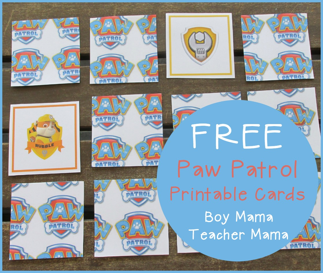 Boy Mama Free Paw Patrol Printable Cards Boy Mama