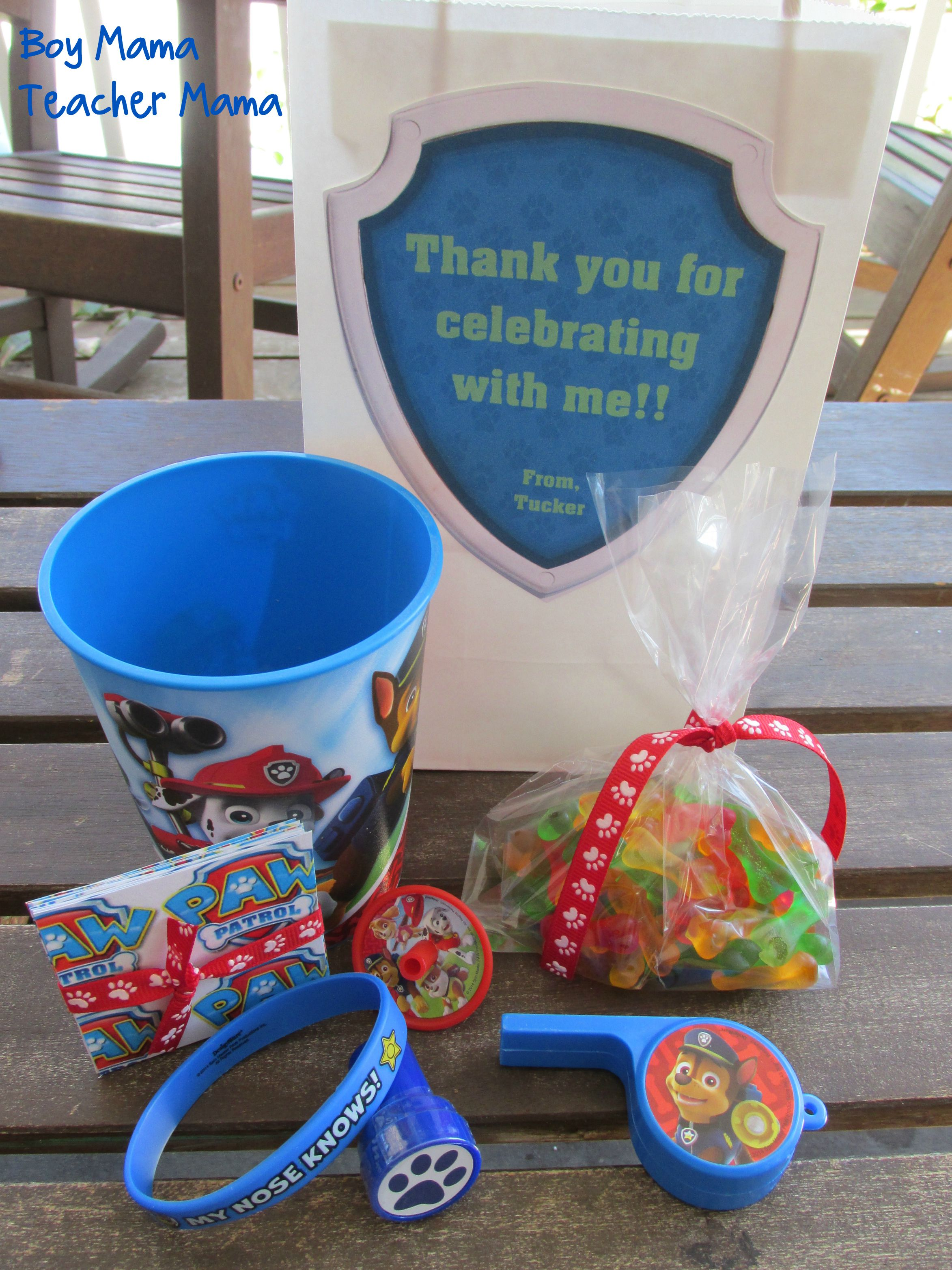Boy mama paw patrol birthday party boy mama teacher mama for Bag decoration games
