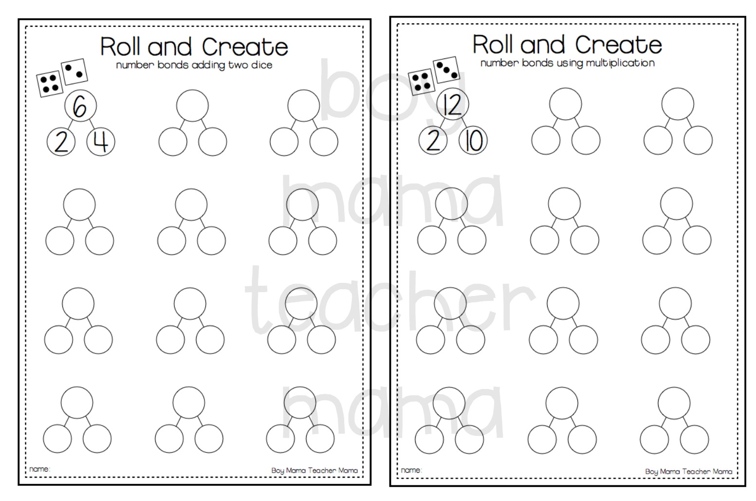 worksheet Number Bonds teacher mama free roll and create number bonds printable after give each child a bond sheet die