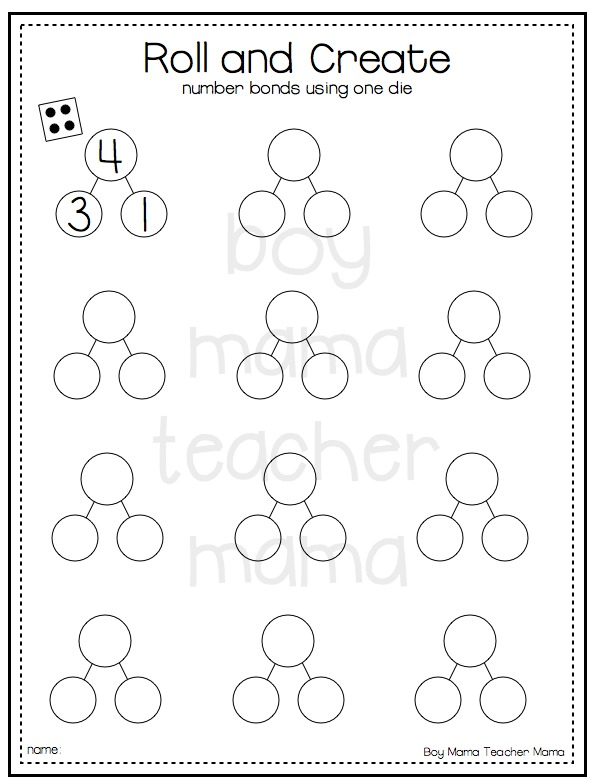 Boy Mama Teacher Mama FREE Roll and Create Number Bonds