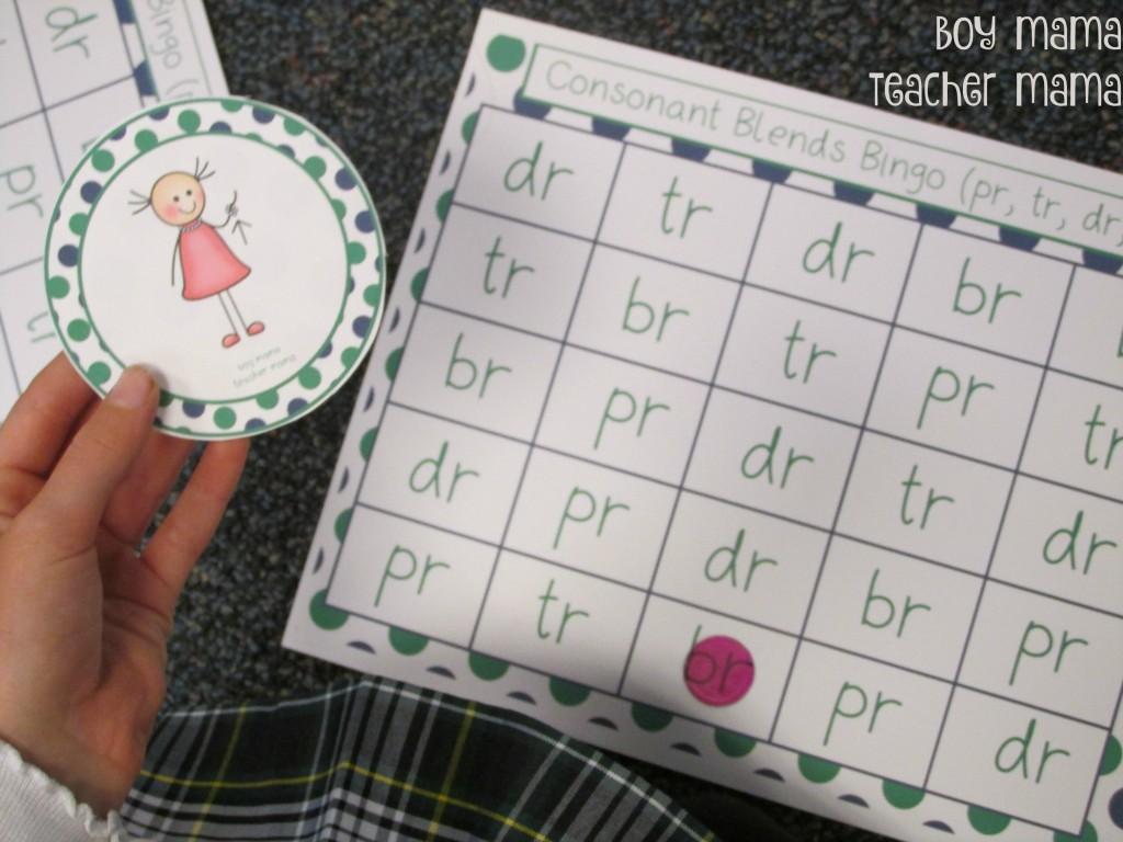 Boy Mama Teacher Mama Consonant Blends Bingo 2