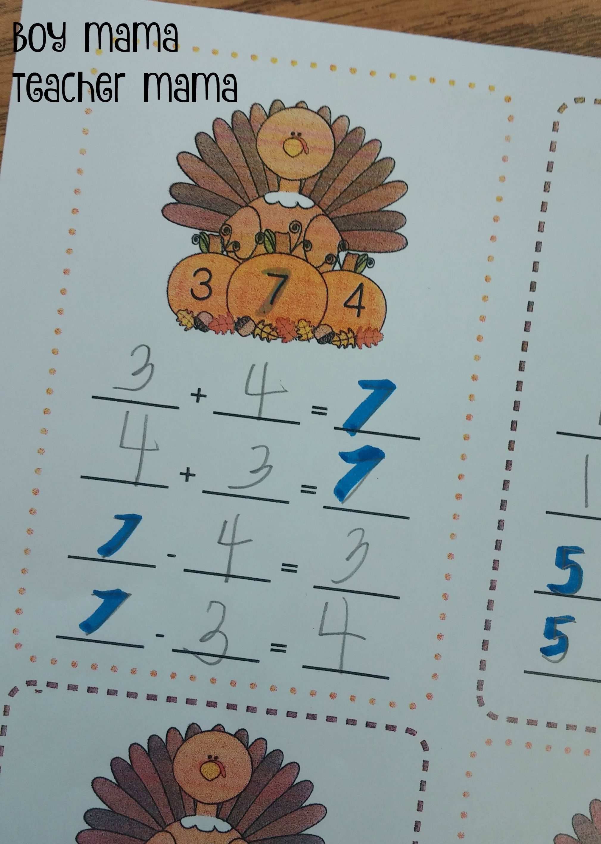 Boy Mama Teacher Mama FREE Turkey Fact Family Practice Sheet - Boy ...