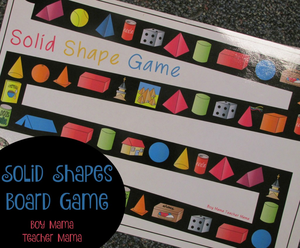 Boy Mama Teacher Mama Solid Shapes Board Game