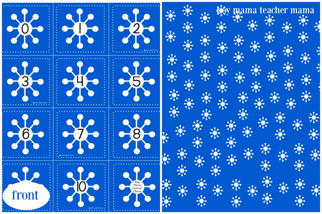 Boy Mama Teacher Mama FREE Snowflake Number Cards