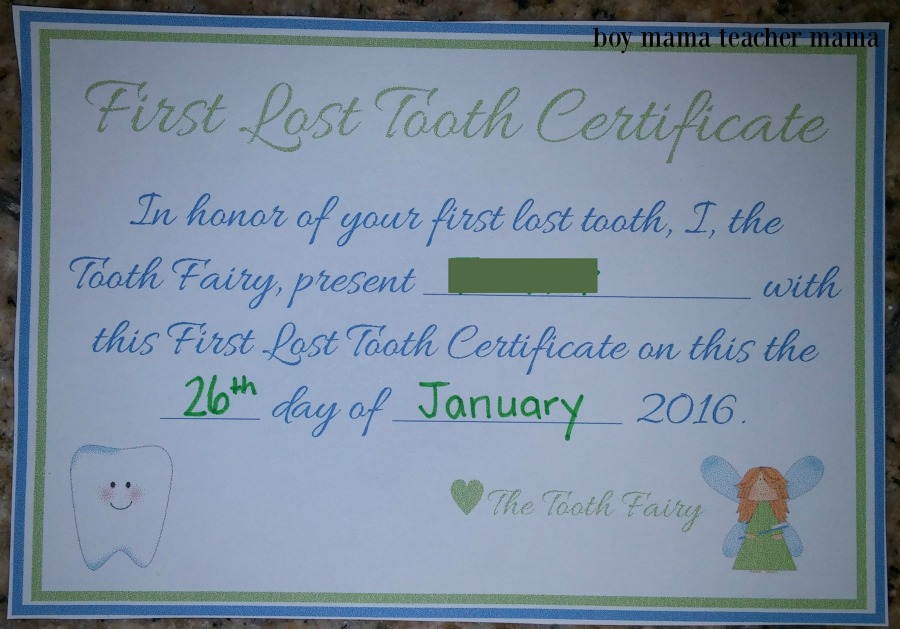 Boy Mama Teacher Mama FREE Tooth Fairy Certificate