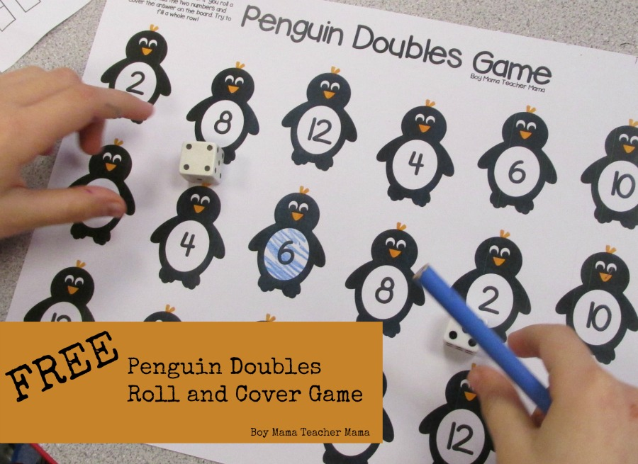 Boy Mama Teacher Mama FREE Doubles Roll and Cover Game
