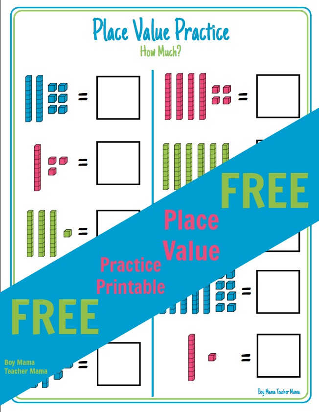 Boy Mama Teacher Mama FREE Place Value Practice Printable