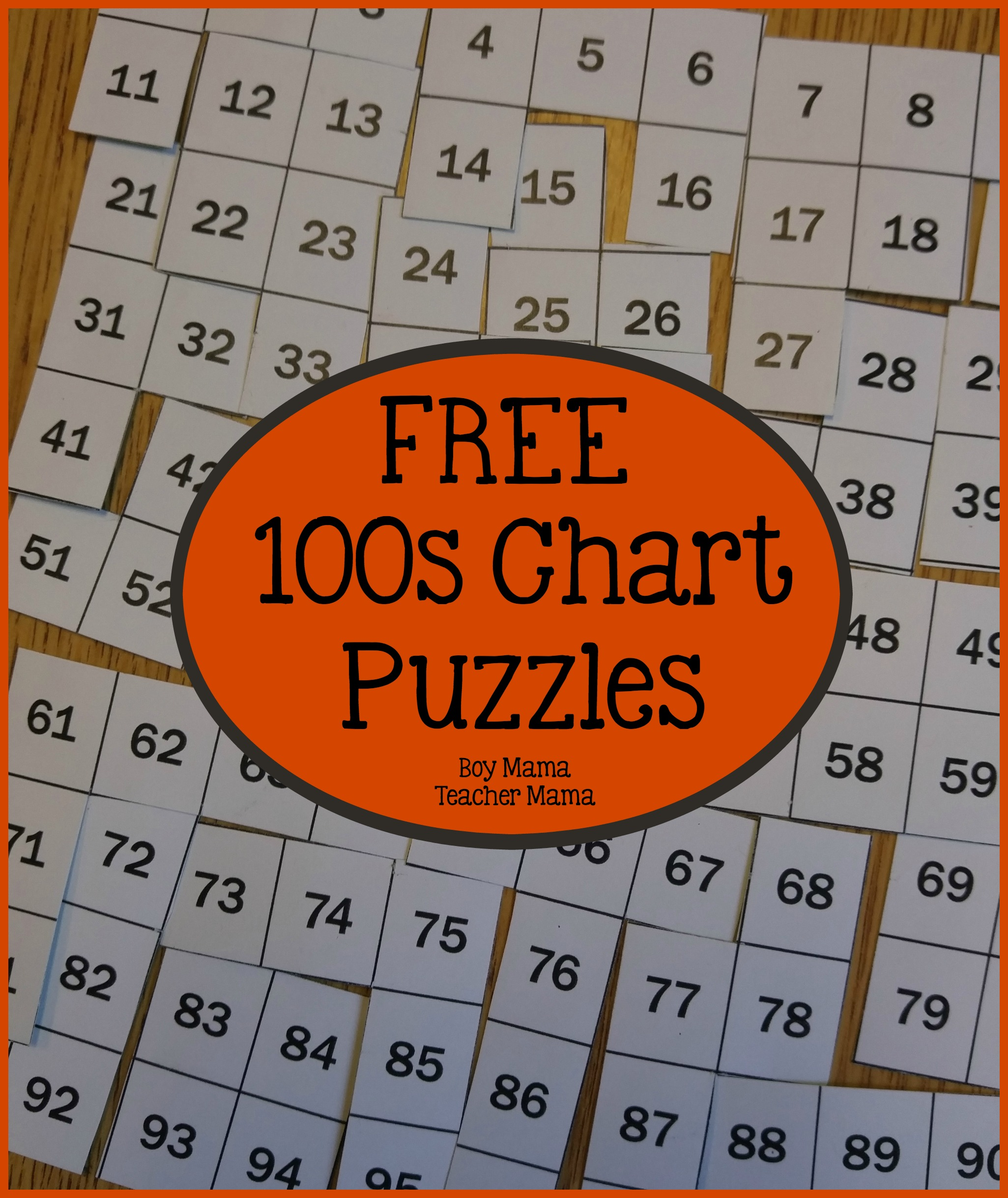 Teacher mama free 100s chart puzzles after school linky for Chart paper craft work