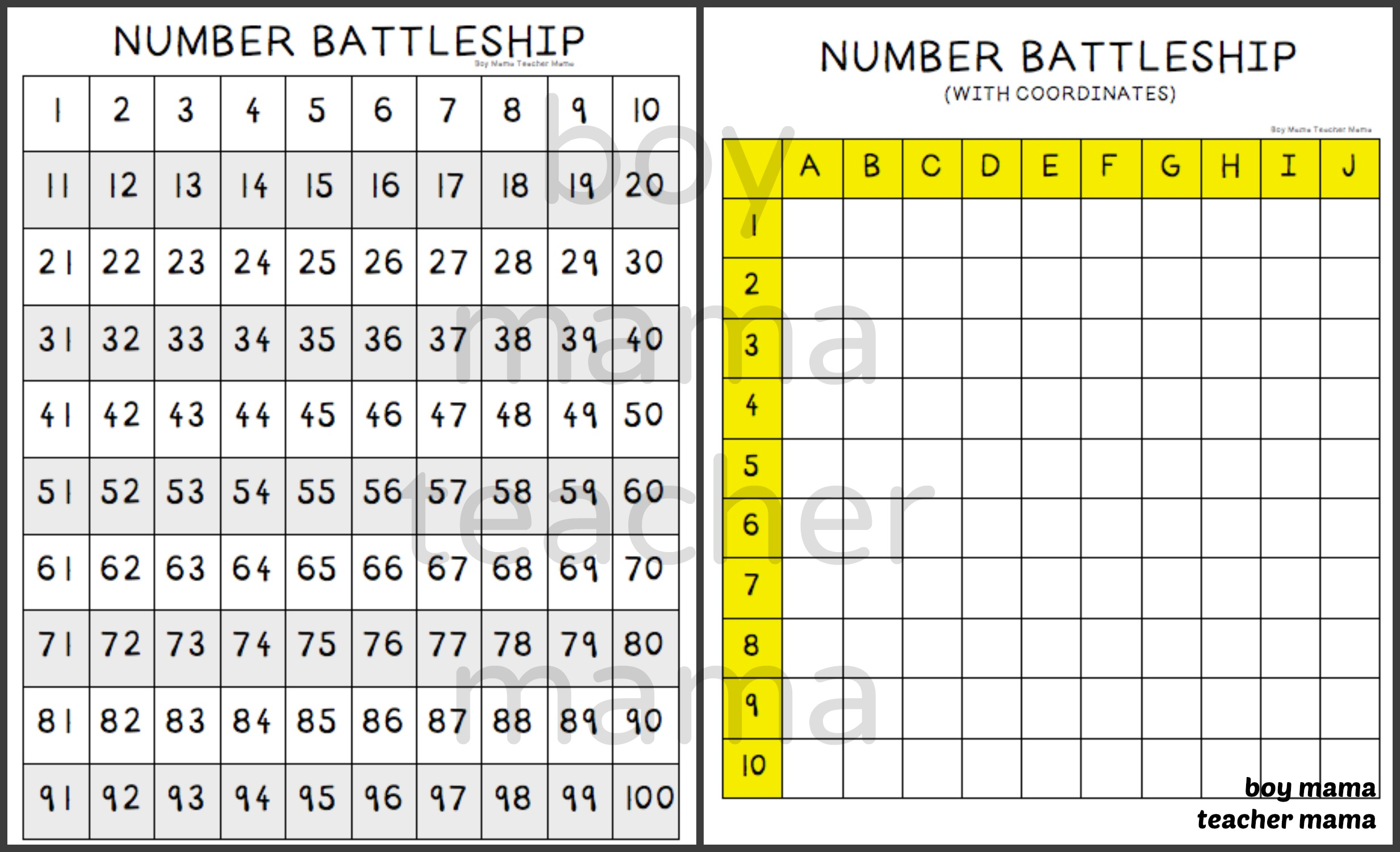 Boy Mama Teacher Mama Numbers Battleship Games