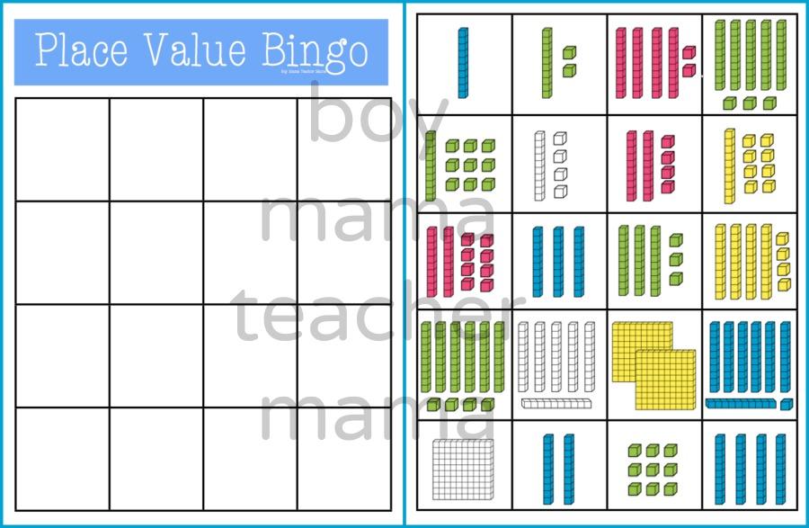 Boy Mama Teacher Mama Place Value Bingo 2