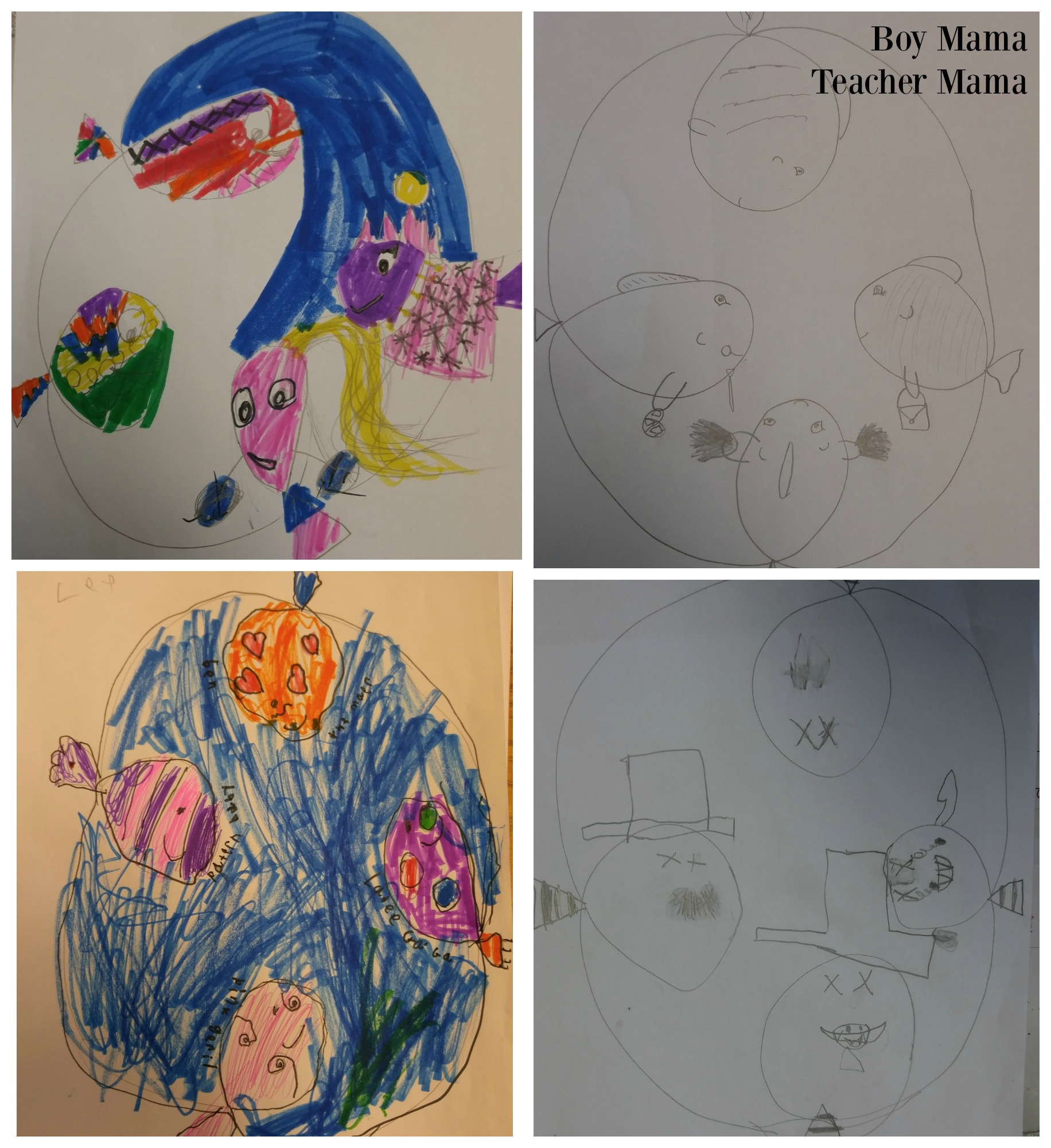 Boy Mama Teacher Mama Tangle Art and Drawing