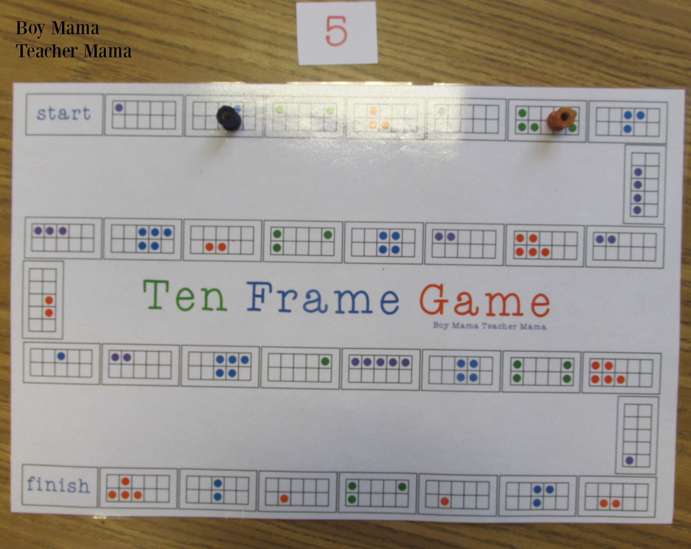 Boy Mama Teacher Mama Ten Frame Game 2