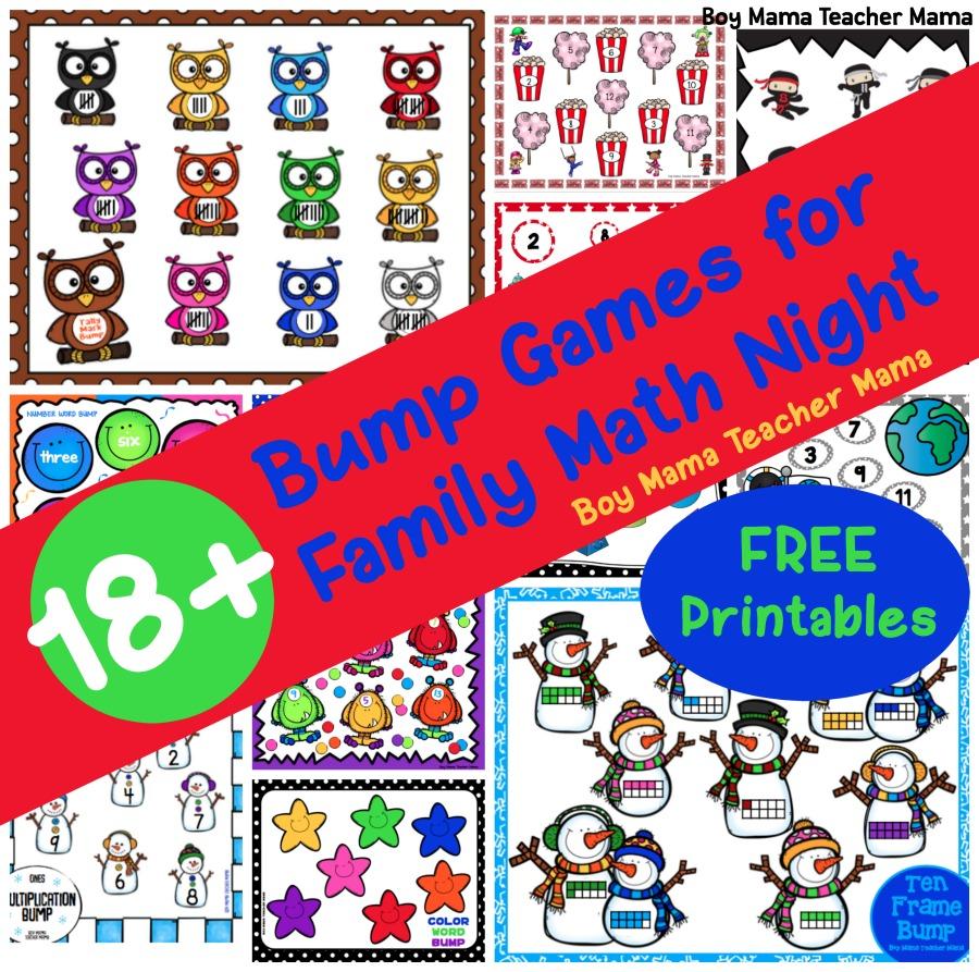 18+ Bump Games for Family Math Night - Boy Mama Teacher Mama