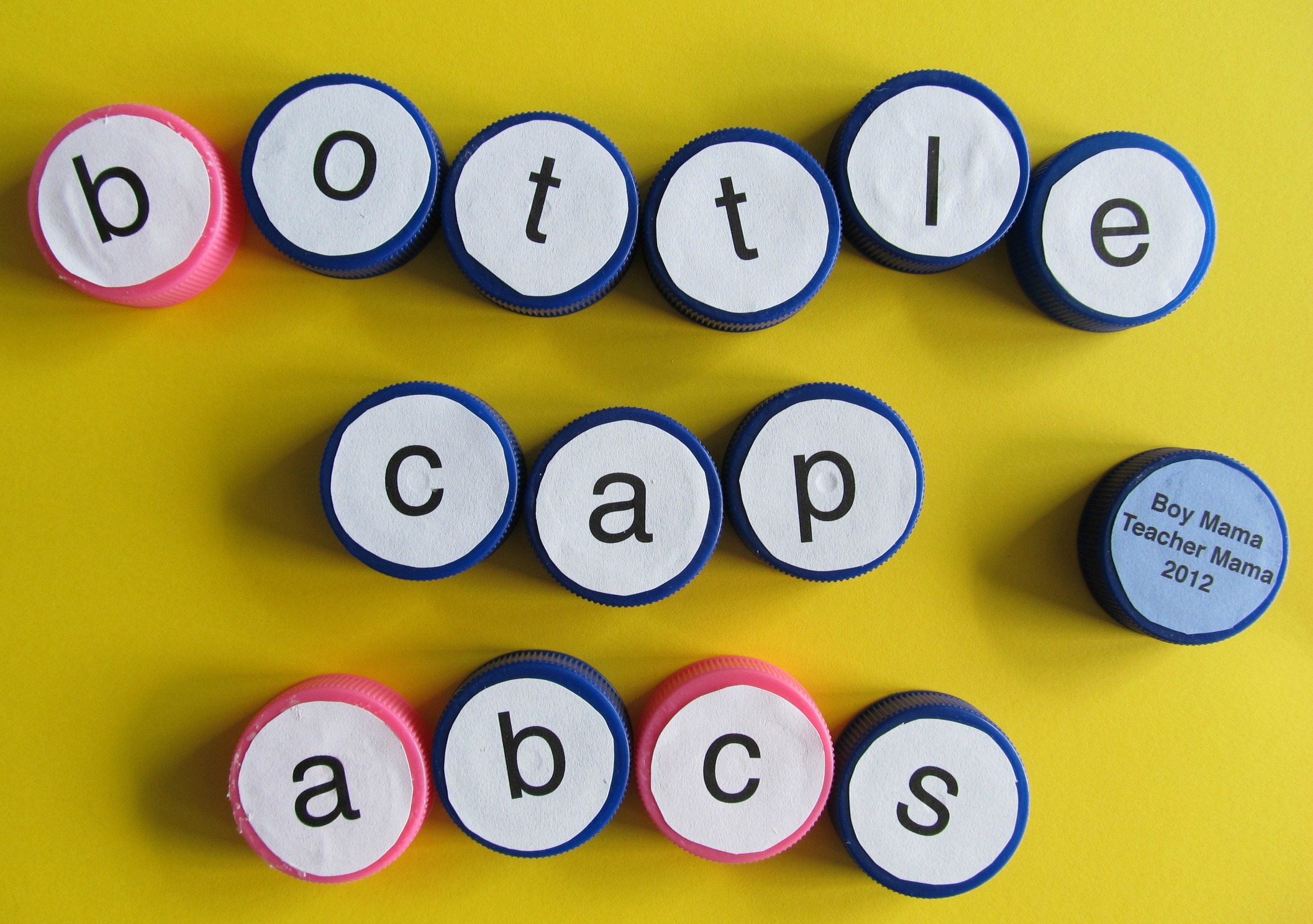 teacher mama  bottle caps abcs