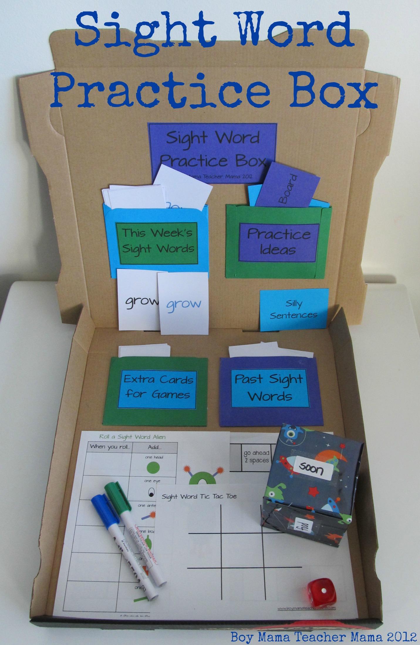 Boy Mama Teacher Mama | Sight Word Practice Box
