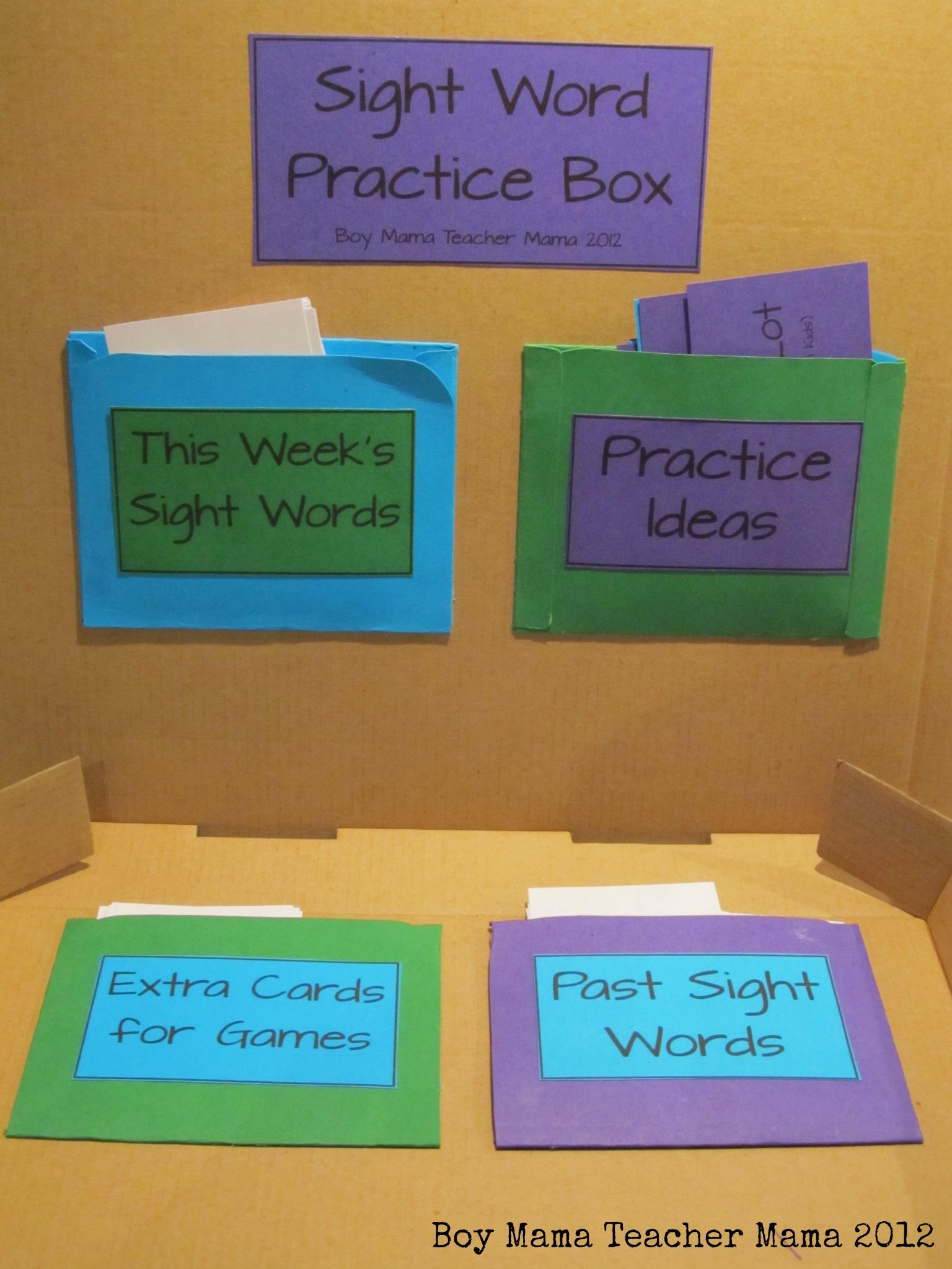 Boy Mama Teacher Mama: Sight Word Practice Box