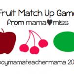 Boy Mama Teacher Mama: fruit match up game from mamamiss