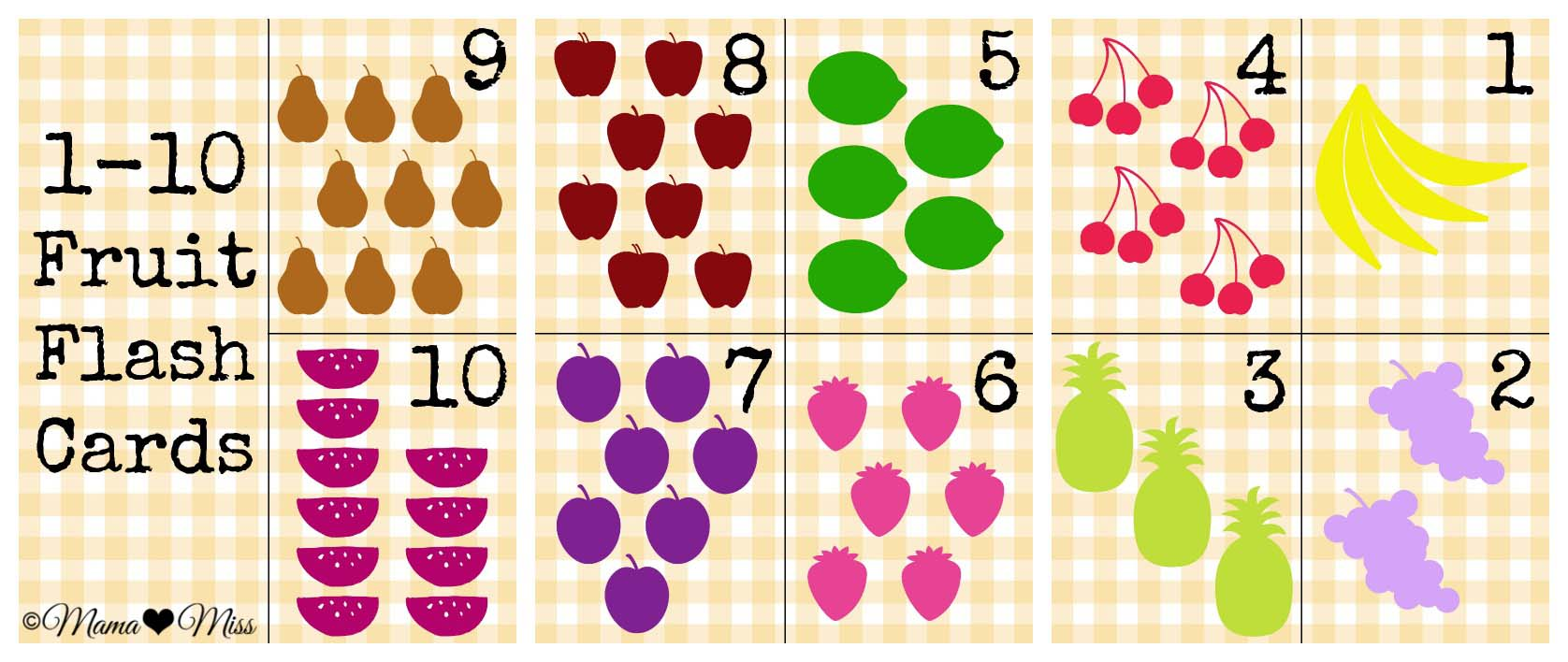image relating to Printable Numbers 1 10 Flashcards named Visitor Mama: Fruit Flashcards towards mama♥miss out on - Boy Mama