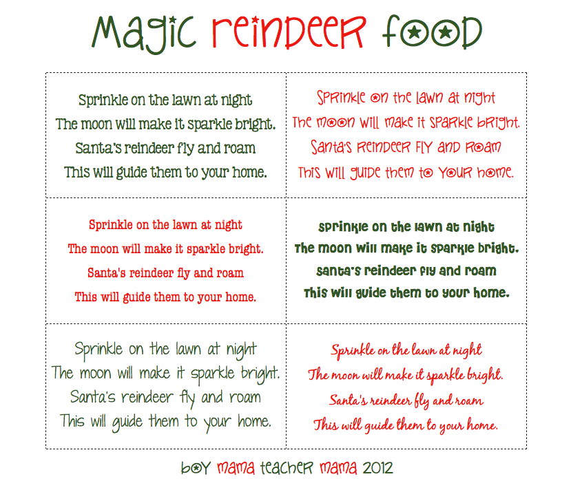 Boy Mama Teacher Mama | Magic Reindeer Food