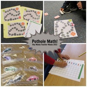 Boy Mama Teacher Mama: POTHOLES! A Game for Practicing Math Facts