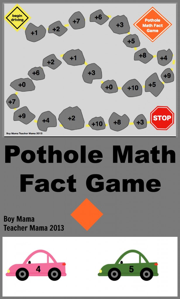 boy mama teacher mama :pothole math game