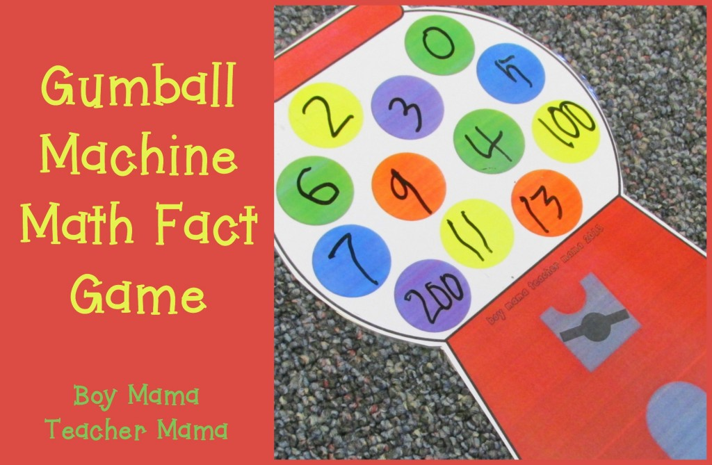 Boy Mama Teacher Mama  Gumball Machine Math Fact Game