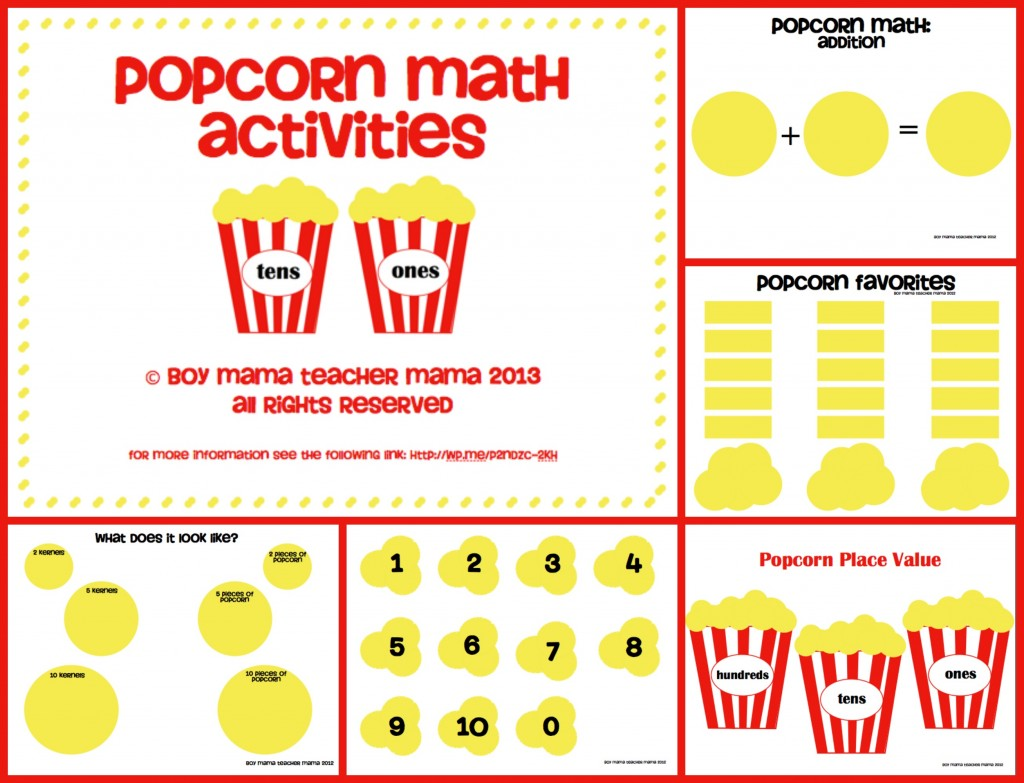 Boy Mama Teacher Mama | Popcorn Math Activities