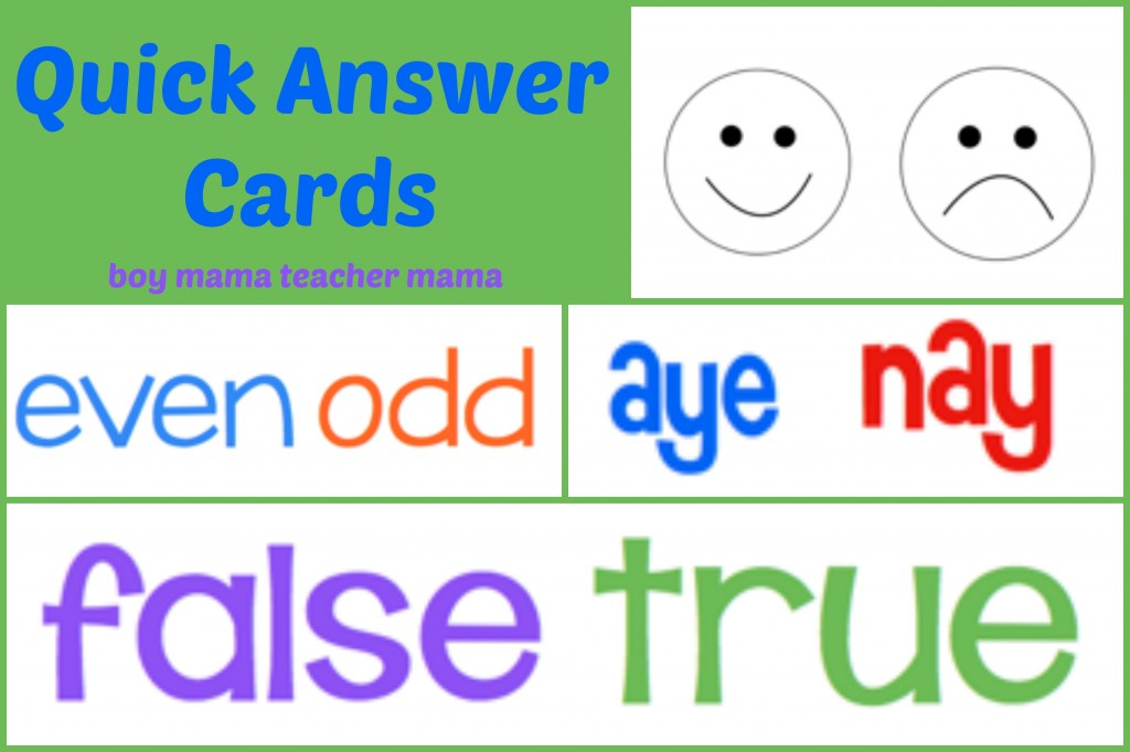 quick answer Boy Mama Teacher Mama | Quick Answer Cards