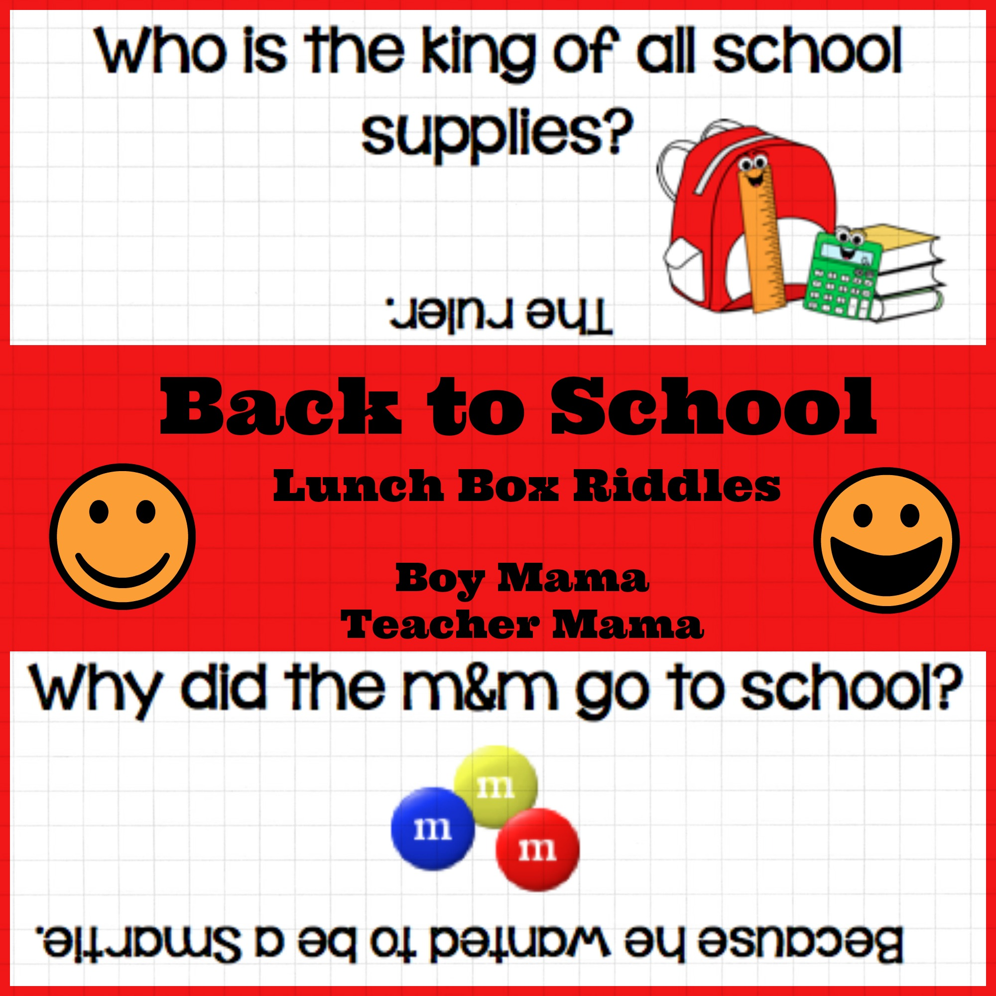 image relating to Riddles for Kids Printable named Boy Mama: Again in direction of College or university Lunch Box Riddles Printable - Boy