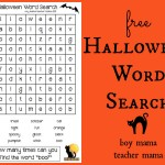 Boy Mama Teacher Mama | FREE Halloween Word Search