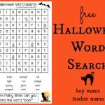 Boy Mama Teacher Mama | FREE Halloween Word Search