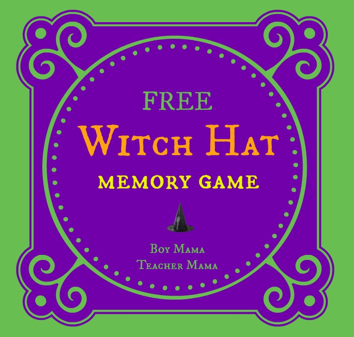 Boy Mama Teacher Mama | FREE Halloween Witch Hat Memory Game