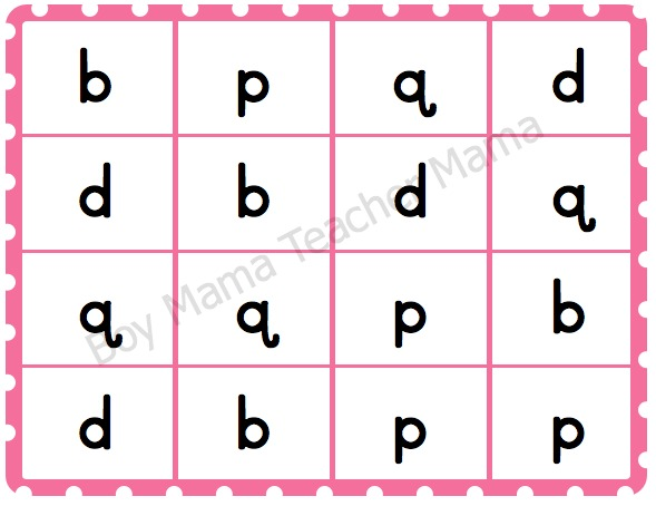 Boy Mama Teacher Mama  Letter Reversal Bingo