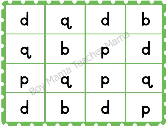 Boy Mama Teacher Mama | Letter Reversal Bingo