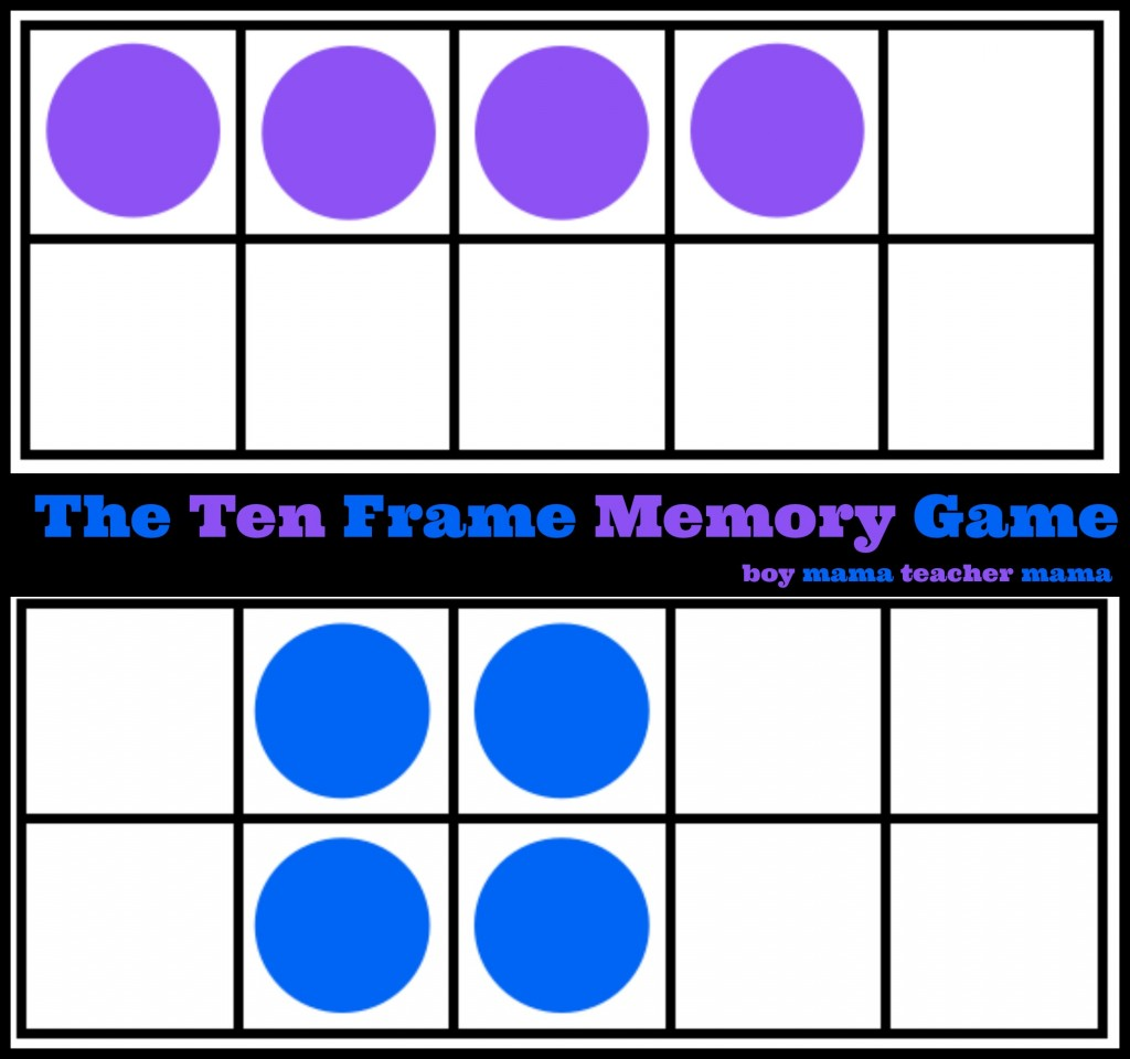 Boy Mama Teacher Mama: The Ten Frame Memory Game frame memory game feature