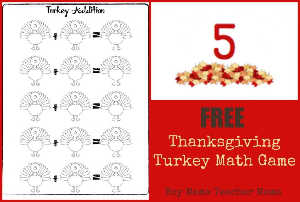 Boy Mama Teacher Mama | FREE Thanksgiving Turkey Math Game