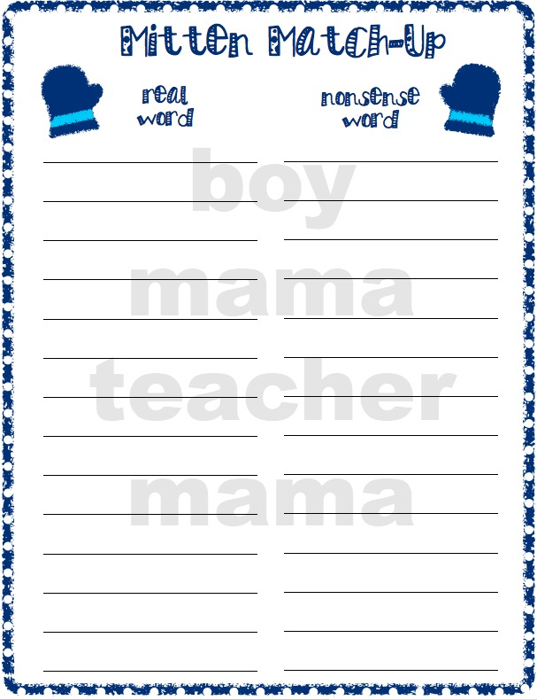 Boy Mama Teacher Mama  Mitten Match Up