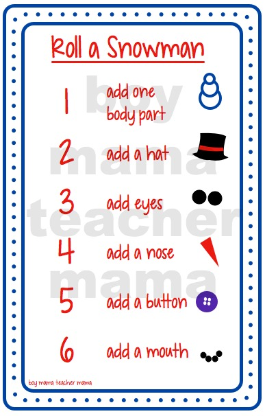 Boy Mama Teacher Mama Roll a Snowman Games (numbers)