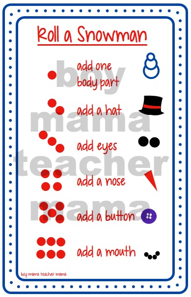 Boy Mama Teacher Mama Roll a Snowman (dice dots)