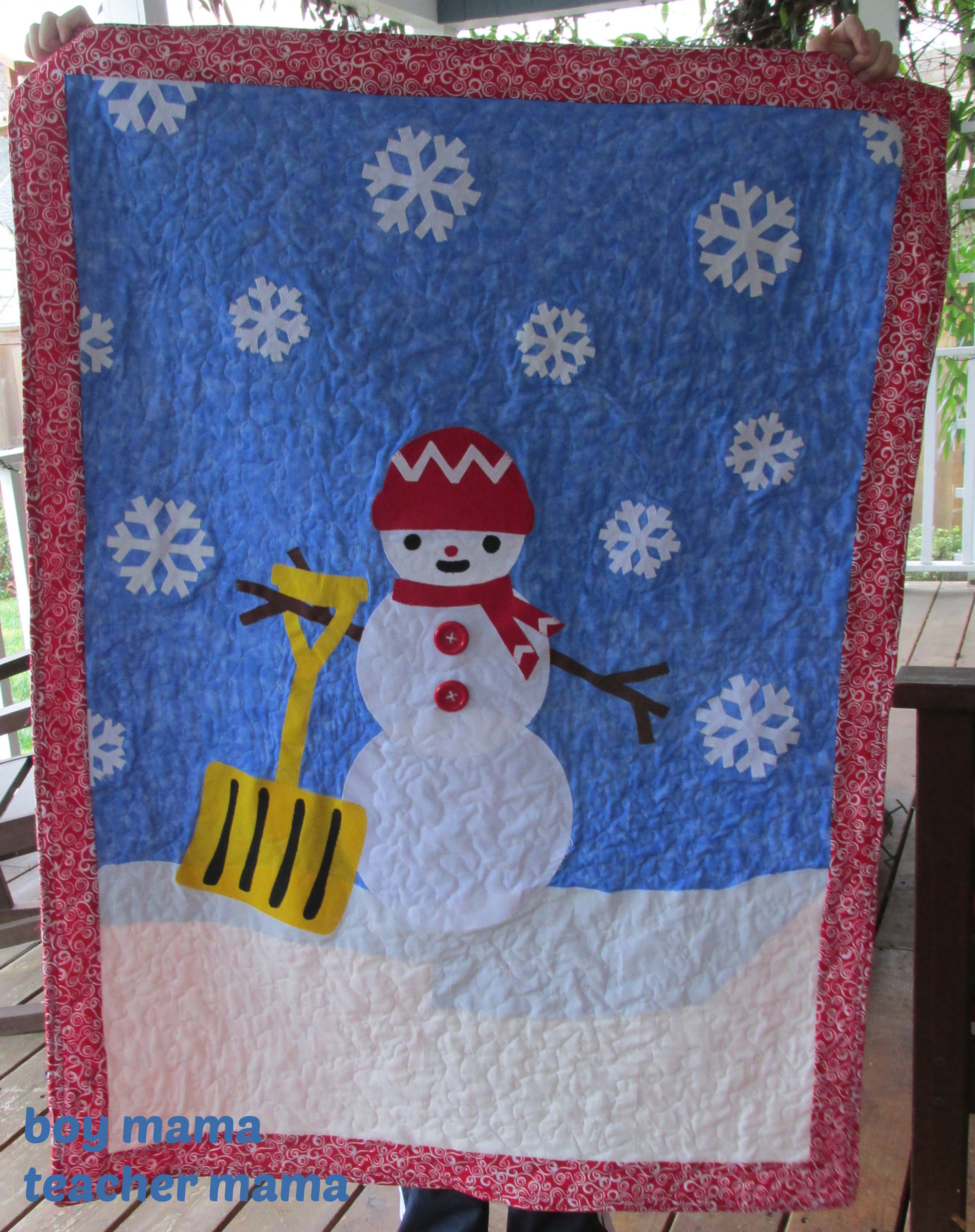 Boy Mama Teacher Mama  Snowman Art Inspired Quilt (2)