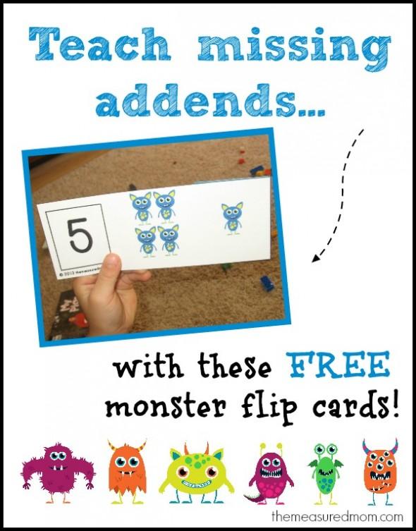 http://www.themeasuredmom.com/teach-missing-addends-monster-flip-cards/