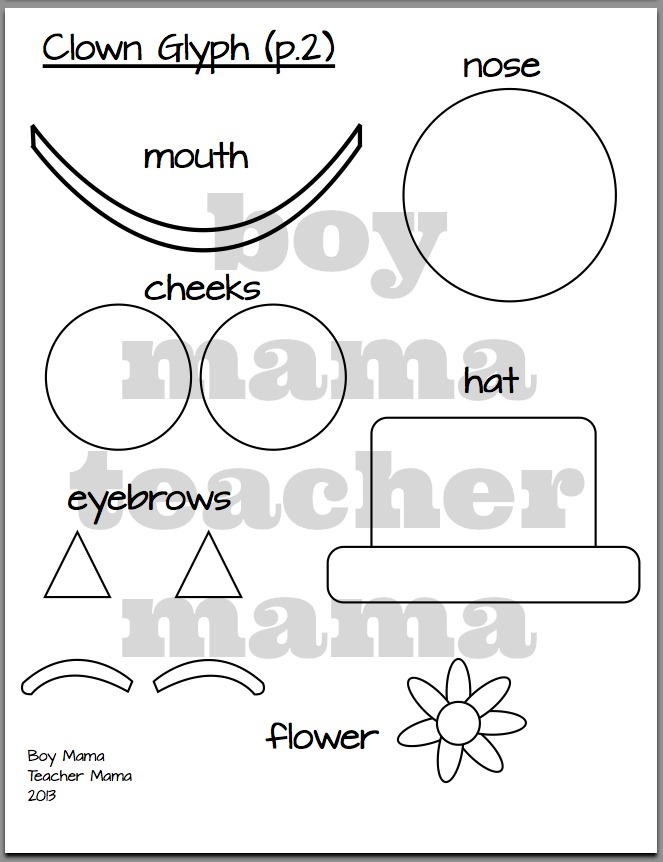 Boy Mama Teacher Mama:Clown Glyph and FREE Circus Word Search