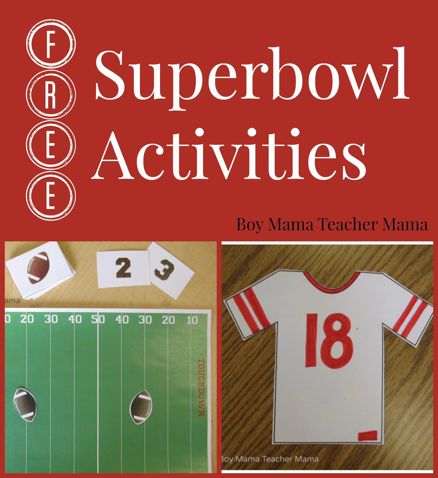 Boy Mama Teacher Mama FREE Superbowl Activities