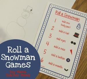Boy Mama Teacher Mama Roll a Snowman Games (featured)