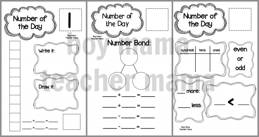 Boy Mama Teacher Mama  Number of the Day ACtivity Packet updates