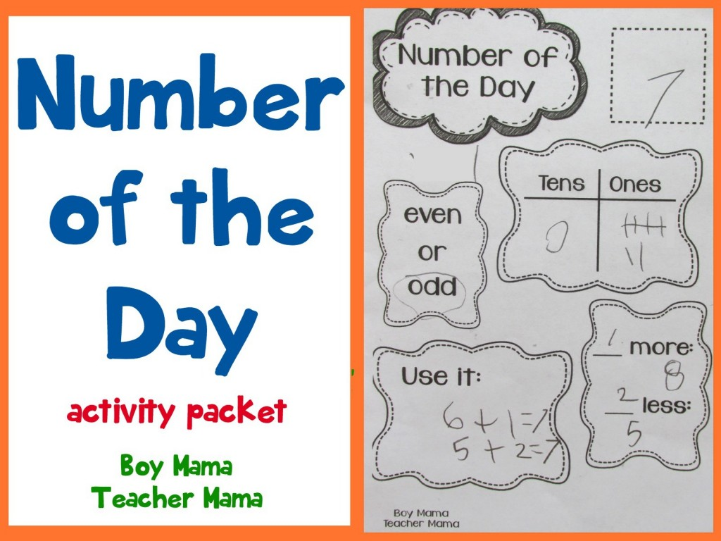 Boy Mama Teacher Mama  Number of the Day Activity Packet (featured)