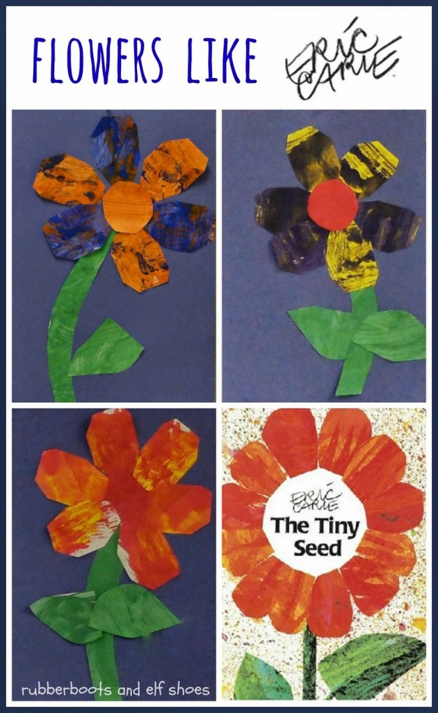 flowers like Eric Carle by rubber boots and elf shoes