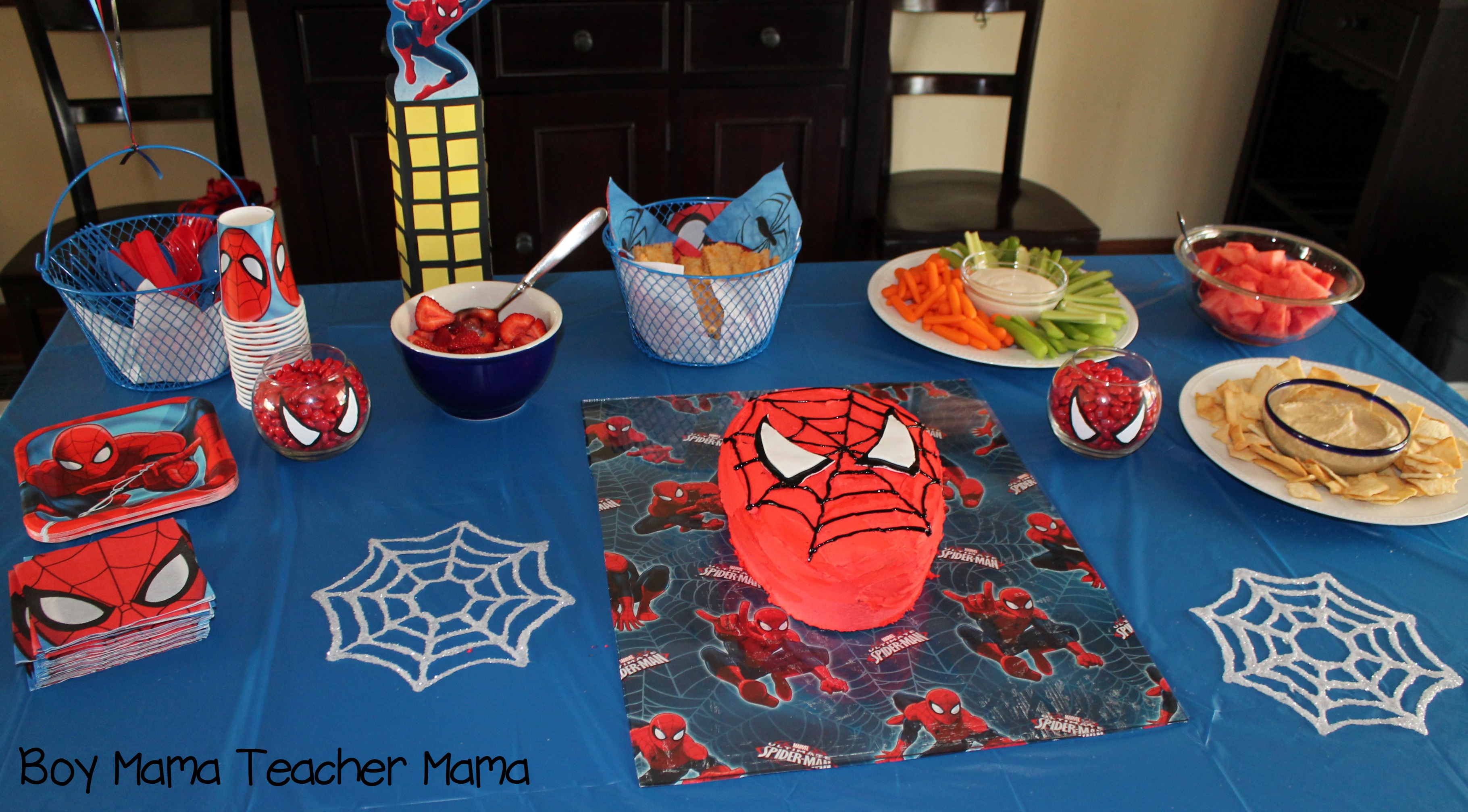 Boy Mama Teacher Spiderman Party 14